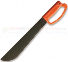 Ontario OKC12 Blackie Collins 12 Inch D Handle Camper Machete (12 Inch 1095HC Black Oxide Coated Blade) Orange Polymer Handle 8512