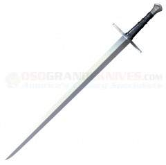 Cold Steel Hand-And-A-Half Sword (33.5 Inch 1050 Carbon Steel Blade) Leather Covered Wood Grip + Scabbard 88HNH