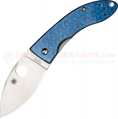 Spyderco C205GFBLP Lil Lum Chinese Sprint Folding Knife (2.38 Inch VG10 Leaf Shape Satin Plain Blade) Blue Nishijin Glass Fiber Handle