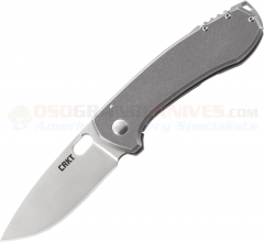 Columbia River CRKT Jesper Voxnaes Amicus Frame Lock Folding Knife (3.41 Inch Plain Blade) Stainless Steel Handle 5445