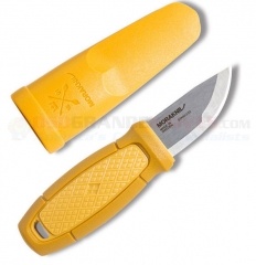 Morakniv Eldris Pocket-Size Neck Knife Fixed (2.2 Inch 12C27 Satin Plain Blade) Yellow Polypropylene Handle | Plastic Sheath FT01761
