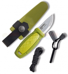 Morakniv Eldris Pocket-Size Neck Knife Kit Fixed (2.2 Inch 12C27 Satin Plain Blade) Green Polypropylene Handle | Fire Starter | Plastic Sheath FT01783