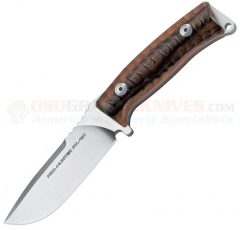 FOX Knives FX-131-DW Pro Hunter Fixed (4.3 Inch N690Co Satin Plain Blade) Santos Wood Handle | Brown Leather Sheath FOX131DW