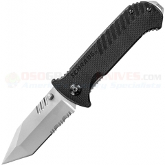 Schrade Tanto Tactical Linerlock Folding Knife (3.125 Inch 9Cr14MoV Bead Blast Combo Blade) Black Textured G10 Handle SCH102S