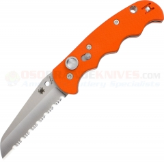 Spyderco C165GSOR Autonomy AUTO Folding Knife (3.65 Inch H-1 Satin Serrated Blade) Orange G10 Handle
