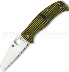 Spyderco C217GSSF Caribbean Compression Lock Folding Knife (3.7 Inch LC200N Rustproof Sheepsfoot Satin Serrated Blade) Black/Yellow G10 Handle