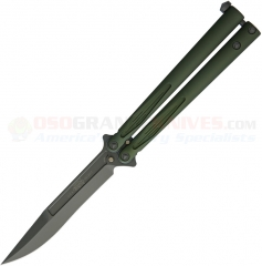Microtech Tachyon III Balisong Butterfly Knife (4.5 Inch Green Bowie Blade) Green Aluminum Handle 173-1GR