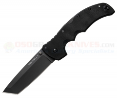 Cold Steel Recon 1 Tanto Tri-Ad Lock Folding Knife (4 Inch S35VN Plain Black DLC Blade) Black G10 Handle 27BT