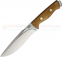 Bark River Knives Bravo Strike Force II Fixed (6.75 Inch CPM-3V Satin Plain Blade) Natural Micarta Handle + Leather Sheath 07228MNC