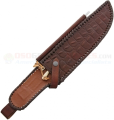 Sheath for Outback Bowie Knife (Also Fits Outback Eclipse and Most Fixed Blade Knives w/ up to 11.0 Inch Blade) Brown Heavy-Duty Faux Alligator Skin + Honing Steel DUKCDS