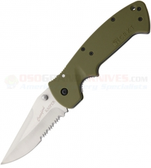 Columbia River CRKT Crawford Kasper Folding Fighter Knife (3.75 Inch 8CR14MoV Satin Combo Blade) OD Green Zytel Handle 6783SOD
