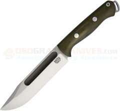 Bark River Knives Squad Leader II Fixed (5.0 Inch CPM-3V Satin Plain Blade) Green Micarta Handle + Leather Sheath BA07224MGC