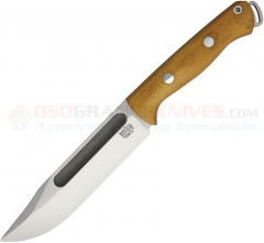 Bark River Knives Squad Leader II Fixed (5.0 Inch CPM-3V Satin Plain Blade) Natural Micarta Handle + Leather Sheath BA07224MNC