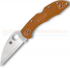 "Spyderco Delica 4 Wharncliffe Sprint Run Folding Knife (2.87"" HAP40 Satin Plain Blade) Burnt Orange FRN Handle C11FPWCBOR"
