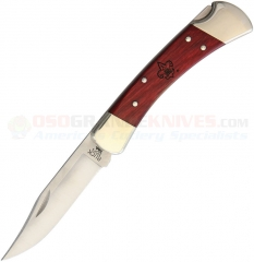 Buck 110 Boy Scout Folding Hunter Pocket Knife (3.75 Inch 420HC Clip Point Satin Plain Blade) Cherry Wood Handle + Leather Sheath 110CWSBSA