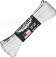 White Glow in the Dark 550 Paracord (Type III Mil Spec 7 Strand 550 Lbs. Parachute Cord) 100 ft. Hank Made in USA RG1117H