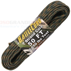 Woodland Camo BattleCord Ultra-Tough Rope (50 ft. x 5.6mm Diameter + 7 Strand Core + 2,650 Lbs. Test) Made in USA RG1126