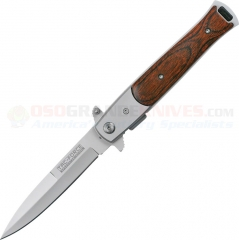 Tac-Force Milano Stiletto Speedster Spring Assisted LinerLock Folding Knife (3.75 Inch 440 Bead Blast Plain Blade) Brown Pakkawood Handle 428W
