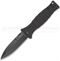 Kershaw Les George XCOM Liner Lock Folding Knife (3.6 Inch Black Oxide Spearpoint Plain Blade) Black GFN Handle 3425