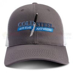 Cold Steel Anytime Anywhere Truckers' Cap (One Size Fits All) Gray/White Mesh Twill Hat 94HCG