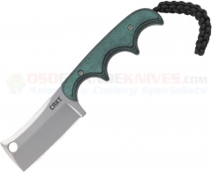 Columbia River CRKT Folts Minimalist Cleaver Neck Knife (2.13 Inch Bead Blast Plain Blade) Green Resin Infused Fiber Handle + GRN Sheath 2383