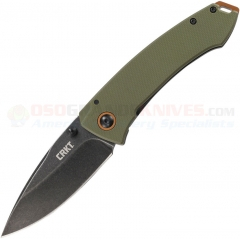 Columbia River CRKT Burnley Tuna Framelock Folding Knife (3.22 Inch Black Stonewash Plain Blade) Green G10/Stainless Handle 2520