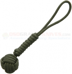 Combat Ready Monkey Fist Self-Defense Tool Lanyard (5.5 Inch OD Green Paracord w/ Wrapped Steel Ball) CBR357