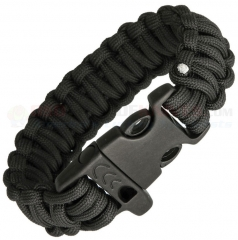 Combat Ready Black Paracord Survival Bracelet + Emergency Whistle (Large 9 Inch Wrist Diameter) CBR361