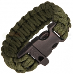 Combat Ready OD Green Paracord Survival Bracelet + Emergency Whistle (Medium 8 Inch Wrist Diameter) CBR360