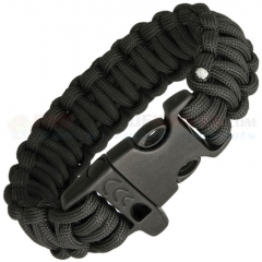 Combat Ready Black Paracord Survival Bracelet + Emergency Whistle (Medium 8 Inch Wrist Diameter) CBR359