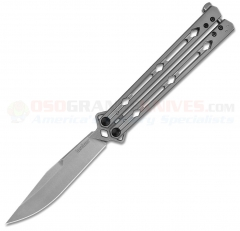 Kershaw Lucha Balisong Butterfly Knife (4.5 Inch Stonewash Sandivk 14C28N Clip Point Blade) Stonewashed Stainless Steel Handle 5150