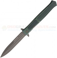 Rough Rider Giant XL Stiletto Flipper LinerLock Folding Knife (5.50 Inch Gray Titanium Coated Plain Blade) Green Aluminum Handle RR1861