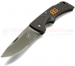 Gerber 31-000760 Bear Grylls Compact Scout Folding Knife, Rubber Grip Handle, ComboEdge