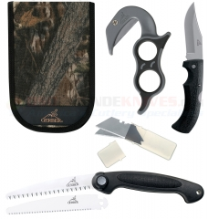 Gerber Ultimate Game Cleaning Hunting Kit (Gator Folding Knife + EZ Zip Skinner + Exchange-A-Blade Saw + Mossy Oak Nylon Sheath) 42759