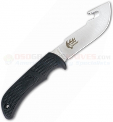 Outdoor Edge Trophy Skinner Guthook Fixed (3.5 Inch AUS8 Satin Plain Blade) Kraton Handle Nylon Sheath OETS20N