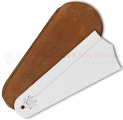 Spyderco Golden Stone Ceramic Sharpening Stone (Fine Grit 7.25 x 3.0 Inch) + Leather Pouch 308F