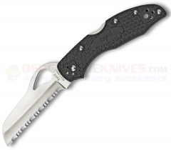 Spyderco Byrd BY19SBK2 Meadowlark Rescue 2, Serrated Blade, Black FRN Handles