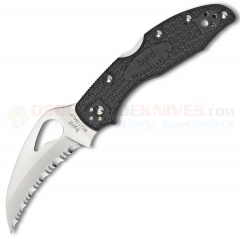 Spyderco Byrd BY22SBK Hawkbill Folding Knife (2.88 Inch 8Cr13MoV Satin Serrated Blade) Black FRN Handle