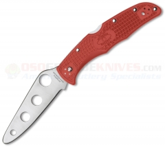 Spyderco C10TR Endura Trainer Folding Training Knife (3.75 Inch Unsharpened Blunt-Tip Training Blade) Red FRN Handle
