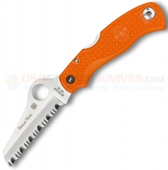 Spyderco C45SOR Rescue 79mm Lockback Folding Knife (3.13 Inch VG10 Sheepsfoot Satin Serrated Blade) Orange FRN Handle