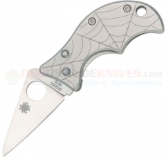 Spyderco C86P Spin Framelock Folding Knife (1.81 Inch VG-10 Satin Plain Blade) Etched Stainless Steel Handle
