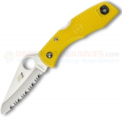 Spyderco C88SYL Salt Lockback Folding Knife (3 Inch H1 Stainless Serrated Blade) Yellow FRN Handle