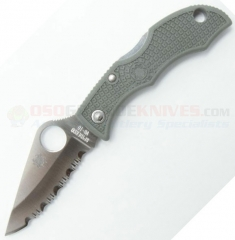 Spyderco LFGS3 Ladybug 3 Key Ring Folding Knife (1.94 Inch VG10 Satin Serrated Blade) Foliage Green FRN Handle