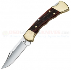 Buck 0112BRSFG Ranger, Finger Grooved Hardwood Handle, Black Leather Sheath
