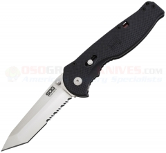 SOG Flash II Tanto SAT Assisted Opening Folding Knife (3.5 Inch AUS8 Satin Combo Blade) Black GRN Handle FSAT-98