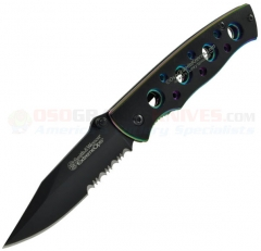 Smith & Wesson Extreme Ops Framelock Folding Knife (2.7 Inch Black Combo Drop Point Blade) Rainbow Stainless Steel Handle CK113S