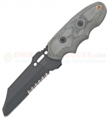 TOPS Knives Interceptor #341 Police Utility Search/Rescue Knife Fixed (3.5 Inch 1095HC Sheepsfoot Black Combo Blade) Gray Micarta Handle + Kydex Sheath