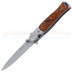 Boker Magnum Stiletto Flipper LinerLock Folding Knife (3.33 Inch 440 Satin Plain Blade) Wood Scales w/ Stainless Bolsters 01YA101