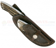 Boker Hunter 2-Knife Combo Set (4.25 Inch Guthook + 2.25 Caping) Stag Handles + Leather Sheath 02BA5130HH
