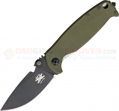 DPx Gear HEST 2.0 FrameLock Folding Knife (3.10 Inch D2 Black Plain Blade) Titanium and OD G10 Handle DPXHESTF20